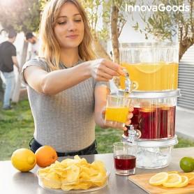 Divkāršu dzērienu dozators ar ledus nodalījumiem un uzkodu paliktni TwinTap InnovaGoods